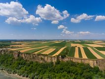 Aerial view of fields on bank of Danube Stock Photo