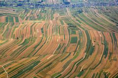 Aerial view of fields Stock Photography