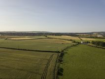 Aerial view of fields and farmland in the countryside. Aerial view of rural fields and farmland in the County Durham countryside. Elevated drone view Royalty Free Stock Photography