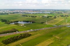 An aerial view of the fields and flatlands near Amsterdam stock photography