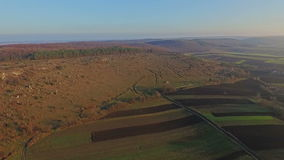 Aerial view of fields and forest stock footage
