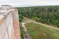 Aerial view on fields and forest on the top of roof Royalty Free Stock Photography