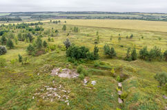 Aerial view on fields and forest on the top of roof Royalty Free Stock Images