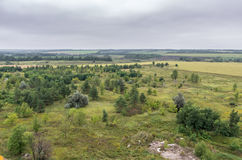Aerial view on fields and forest on the top of roof Stock Photography
