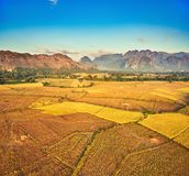 Aerial view of the fields and mountain. Beautiful landscape. Lao. Aerial view of the fields and mountain. Beautiful landscape. Vang Vieng. Laos Royalty Free Stock Image