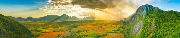 Aerial view of the fields and mountain. Beautiful landscape pano. Rama. Vang Vieng. Laos Royalty Free Stock Image