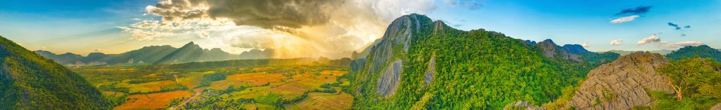 Aerial view of the fields and mountain. Beautiful landscape pano. Rama. Vang Vieng. Laos Stock Photography
