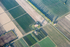 Aerial view fields Po Basin Italy Stock Photos