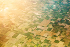 Aerial view of the fields. Aerial view of the regularly planned fields at golden hour Stock Photos
