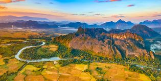 Aerial view of the fields, river and mountain. Beautiful landsca Stock Images