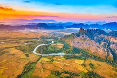 Aerial view of the fields, river and mountain. Beautiful landsca Stock Photography