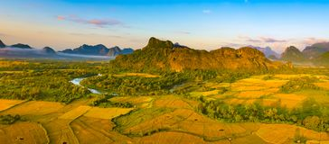 Aerial view of the fields, river and mountain. Beautiful landsca Royalty Free Stock Photography