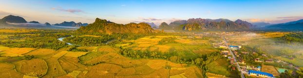 Aerial view of the fields, river and mountain. Beautiful landsca Stock Image