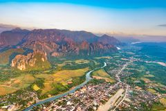 Aerial view of the fields, river and mountain. Beautiful landsca Stock Photos