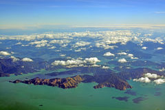 Aerial View of Fighting Bay, Marlborough Sounds, New Zealand royalty free stock photo