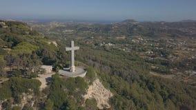 Aerial view of Filerimos Cross. Rhodes island, Greece stock video footage