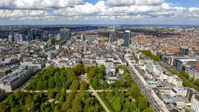 Aerial View Financial District Of Brussels Cityscape In Belgium. Feat, Business Buildings and Skyscrapers with Brussels Park Royalty Free Stock Image