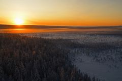 Aerial view of finish lapland Royalty Free Stock Image