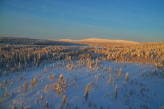 Aerial view of finish lapland Royalty Free Stock Photography