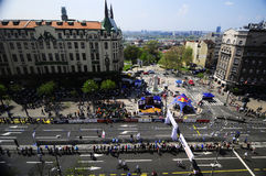 Aerial view of finish line of Belgrade Marathon Stock Image