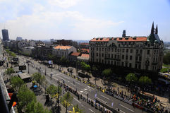 Aerial view of finish line of Belgrade Marathon Stock Photos