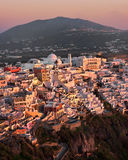 Aerial View of Fira in the Evening, Santorini, Greece Stock Image