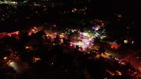 Aerial View of Fire Trucks and Apparatus on Scene of House Fire.  stock video