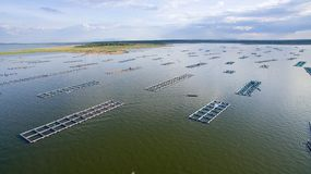 Aerial view ,fish coop, Fish cages ,Khonkean, Thailand. Fish coop, Fish cages Khonkean Thailand Royalty Free Stock Photo