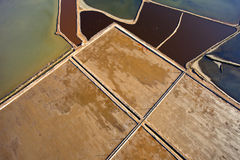 Aerial view of fish farms. And salt marshes Royalty Free Stock Photos