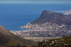 Aerial view of Fish Hoek. View of Fish Hoek town from Silvermine Reserve, Cape Town, South Africa Stock Photography