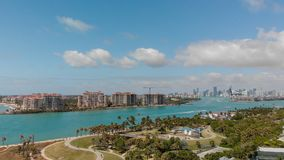 Aerial view of Fisher Island in Miami, Florida.  stock image