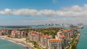Aerial view of Fisher Island in Miami, Florida.  royalty free stock image