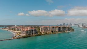 Aerial view of Fisher Island in Miami, Florida.  royalty free stock photography