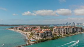 Aerial view of Fisher Island in Miami, Florida.  stock images