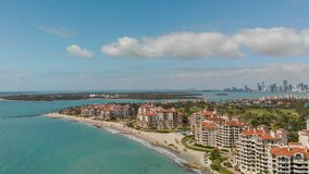 Aerial view of Fisher Island in Miami, Florida.  stock photos