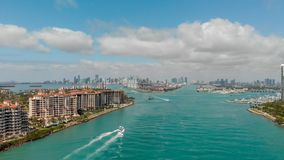 Aerial view of Fisher Island in Miami, Florida.  stock photography