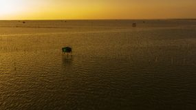 Aerial view of Fisherman`s house in twilight time  ,  Thailand Stock Photo