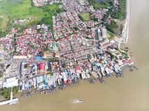 Aerial view in fisherman village stock images
