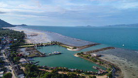 Aerial view of fisherman village marina on the tropical island. Fisherman village marina  in Koh Phangan Thailand Stock Photography
