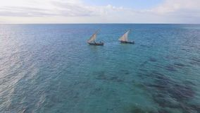 Aerial view of fishermen go out on sailboats to the ocean for fishing. Zanzibar. stock video footage