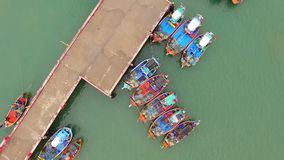 Aerial view of fishery boat in prachuap khiri khan southern of thailand