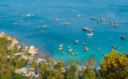 Aerial view of Fishing boats in Ben Ngu wharf of Nam Du Islands Royalty Free Stock Image