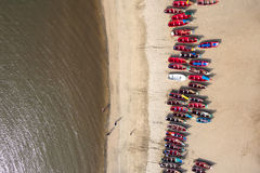 Aerial view of fishing boats in Tarrafal beach in Santiago islan. D in Cape Verde - Cabo Verde Royalty Free Stock Image