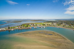 Aerial view of fishing town. Port Albert, small fishing village in South Gippsland, Australia royalty free stock photos