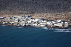 Aerial view of a fishing village Royalty Free Stock Image