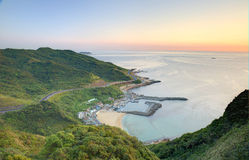 Aerial view of a fishing village at dawn on northern coast of Taipei Taiwan Royalty Free Stock Image