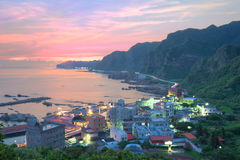 Aerial view of a fishing village at dawn on northern coast of Taipei Taiwan ~ Royalty Free Stock Photography