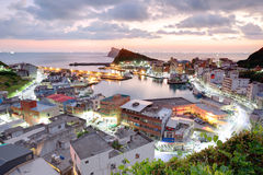 Aerial view of a fishing village at dawn on northern coast of Taipei Taiwan Stock Photo