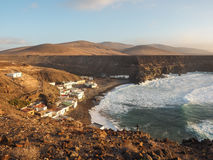 Aerial view of a fishing village at Fuerteventura, Canaries Stock Images
