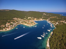 Aerial view of Fiskardo village and his harbor. Kefalonia island, Greece Stock Images